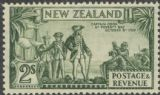 NZ SG589e 2s Captain Cook at Poverty Bay perf 13¾x13½